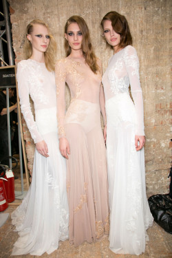 oncethingslookup:  Julia Nobis, Nadja Bender, and Catherine McNeil backstage at Francesco Scognamiglio Fall 2013 RTW