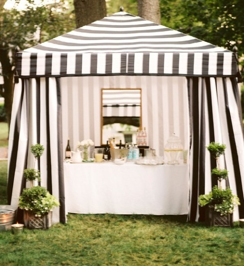 bride2be:  bar/wedding dessert bar under a striped tent