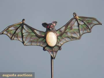 omgthatdress:  Plique-a-Jour and Opal Hat Pin 1900s Augusta Auctions happy October, you animals!  omg it's a bat