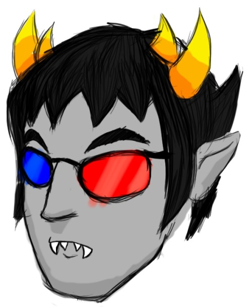scykos-art:  Haven't really drawn much on my tablet, went for a Sollux head shot.