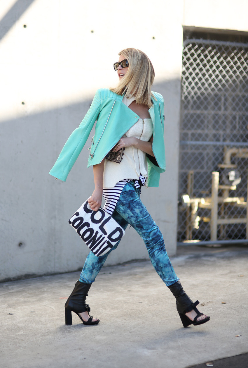 Jacket: Balmain via Myer  ||  top: Manning Cartell ||  pants: Lottie Hall  ||  perspex clutch: Gucci  ||  pencil case clutch: Samudra  ||  shoes: Prada  ||  sunglasses: Celine  ||  ring: Amber Sceats (image: oraclefox)