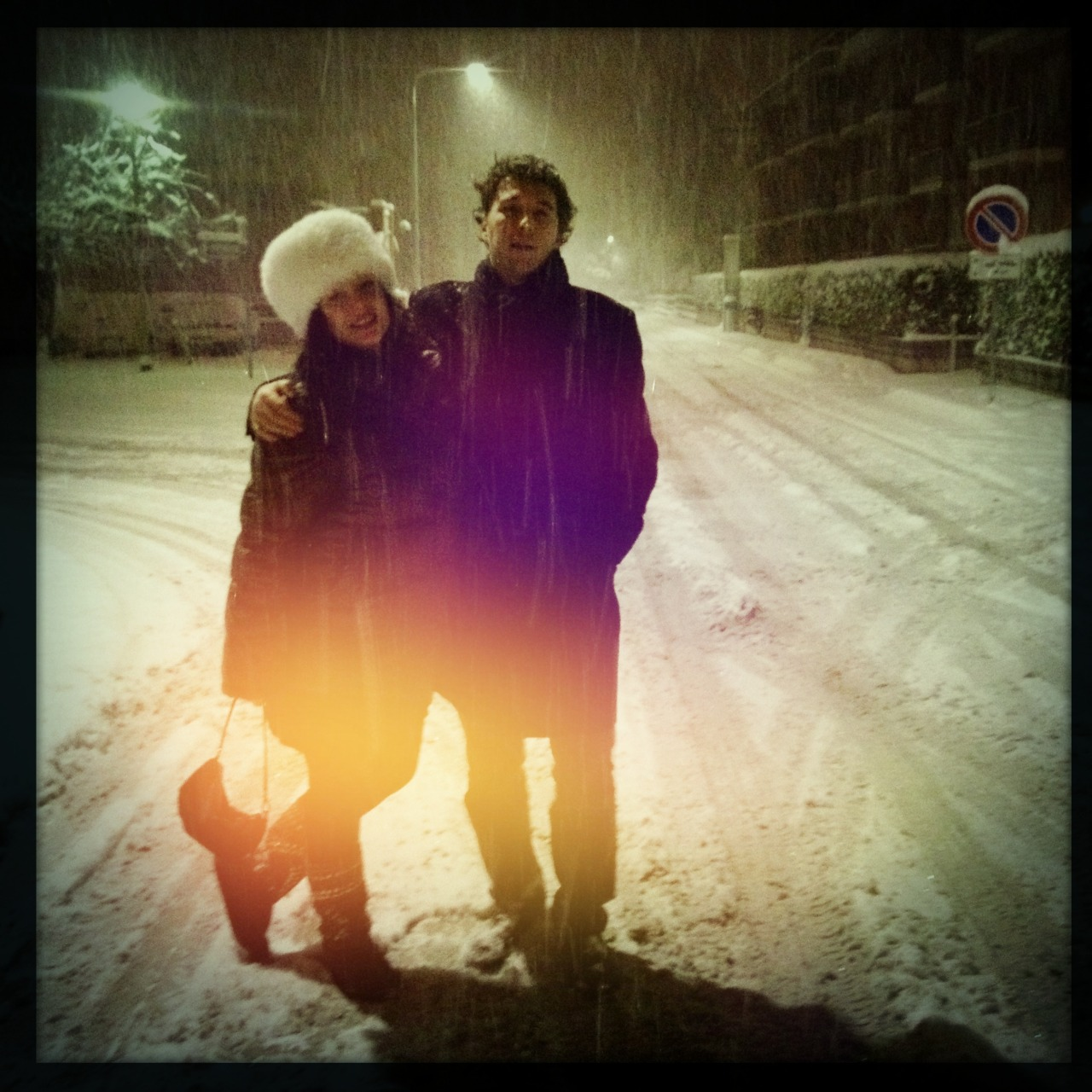 Werner & Giulia in the street while snow was falling