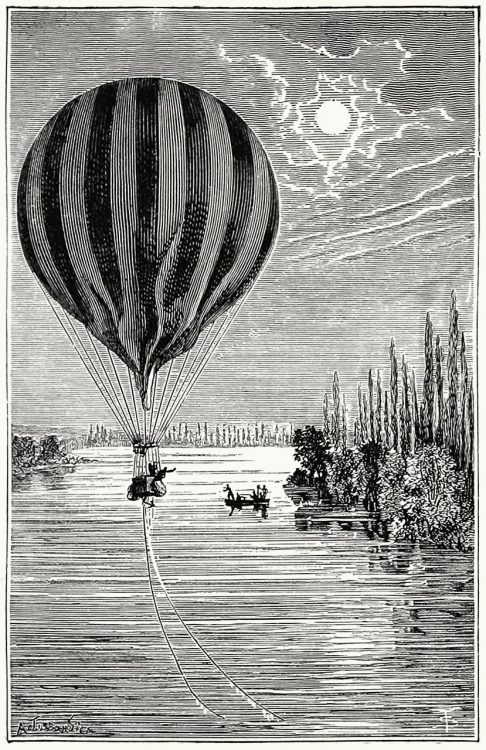 oldbookillustrations:  Twelfth journey. Descent of the balloon Jean-Bart into the Seine, near Jumièges. A Tissandier, from Histoire de mes ascensions (Story of my balloon ascents), by Gaston Tissandier, Paris, 1880. (Source: archive.org)