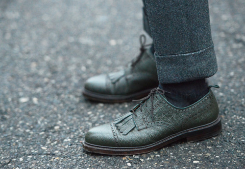 Gabriel's green pebble grain Black Fleece kiltie brogues. Strong cuff on those herringbones too.