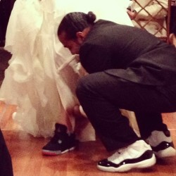 Congrats Greedley & Alyssa #sneakerhead #wedding #gmp11s #bred4s #unds #celebrationtime #kicks0l0gy #kickstagram #igsneakercommunity #solemates