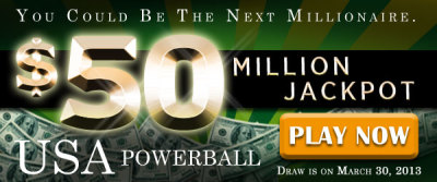 osalottos:  USA Powerball Rollover: US$ 50M Jackpot on March 30 There was no jackpot winner in the March 27 USA Powerball Draw. The winning numbers were 07-37-43-48-52 and Powerball 16. The USA Powerball Jackpot on Saturday, March 30 is now estimated at US$ 50M. Play the USA Powerball now!