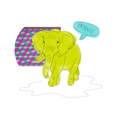 random, quick sketch of a neon elephant trying to be wise. nyehe