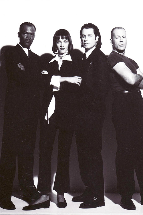 Samuel L. Jackson, Uma Thurman, John Travolta & Bruce Willis, promotional photoshoot for Pulp Fiction, 1994,