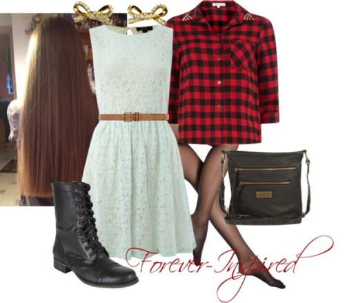 Plaid & Lace by forever-inspired featuring kate spade