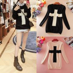 Preorder Cross Sweater Color: Black/Beige Size: Small/Medium $25+ shipping