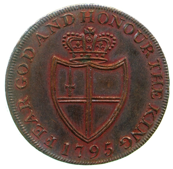 Reverse of a 1795 pro-Royalist copper halfpenny token issued to rouse patriotism in the wake of the French Revolution.The inscription 'Fear God and Honour the King' is a reference to 1 Peter 2:17 which says 'Fear God. Honour the King.'