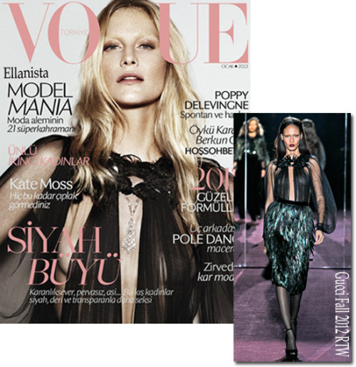 Poppy Delevingne covers the Vogue Turkey January issue wearing Gucci.