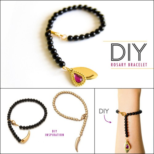 DIY Knockoff CC SKYE Lucky Horn Rosary Bracelet Tutorial from Sprinkles in Springs here. This is an elastic bracelet which makes it so much easier to wear - just slip it on. Top Photo and Right Bottom Photo: DIY by Sprinkles in Springs. Left Bottom Photo: $60 CC SKYE Lucky Horn Rosary Bracelet here. For more DIY knockoffs go here: truebluemeandyou.tumblr.com/tagged/knockoff