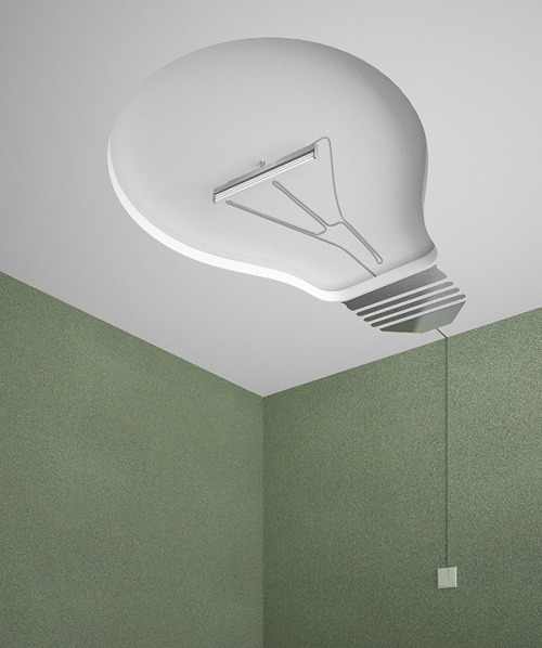 nobodyplace:  Lamp Chandelier on Ceiling | I New Idea Homepage  Humor designers have brought such an interesting design to our lives. This chandelier has a different shape from usual lamp, although the main emitter is also for lamp, but the designers have specially designed for the ceiling with sunken bulb shape, together with the fix mounting bracket of simulation into the filament, allowing everyone to smile when seeing the chandelier.