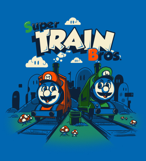 """Super Train Bros."" - By Drawsgood Illustration and Design. This is an update on a previous version of this design I posted earlier this year. Drawsgood Illustration and Design website  