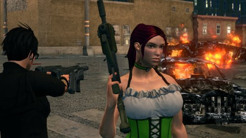 grimmriddle:  running around in a green dress??  Grim & I playing Saints Row 3. He seems to really love that green saint patties dress on my charactor. Lol