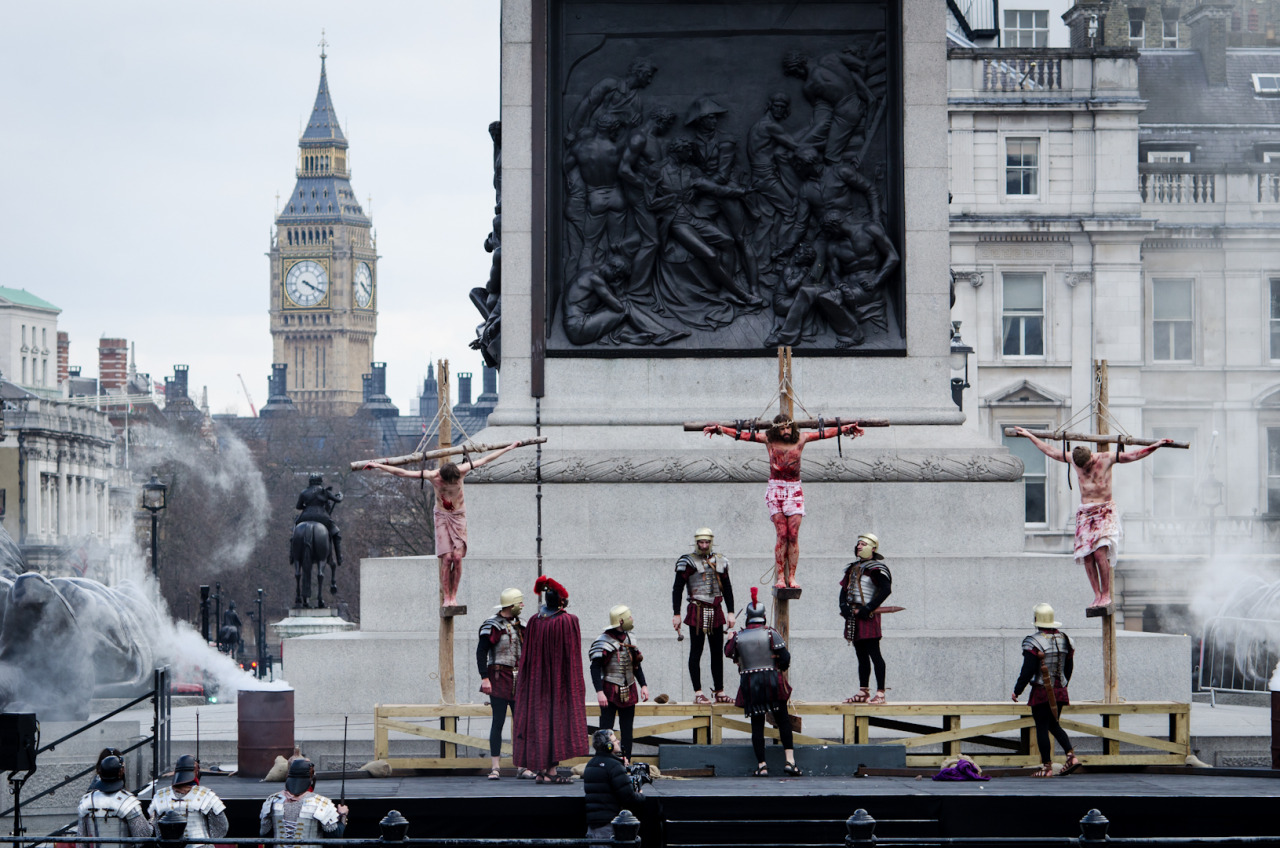 The Passion of Jesus at Trafalgar Square, London. They really couldn't have picked a better location in London for this, what an epic backdrop.