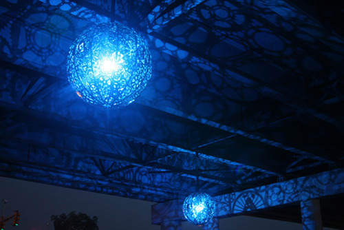 "nanner:  archiemcphee:  For an art installation entitled Ballroom Luminoso, artists Joe O'Connell and Blessing Hancock created and hung six awesome chandeliers from a concrete underpass in San Antonio, Texas. The chandeliers were custom-made using structural steel, recycled bicycle parts, and custom LEDs that project a field of silhouettes of sprockets, gears, and other shapes onto the blank slate of an otherwise unremarkable industrial surface. From the artist's statement about the project:  ""Ballroom Luminoso references the area's past, present, and future in the design of its intricately detailed medallions. The images in the medallions draw on the community's agricultural history, strong Hispanic heritage, and burgeoning environmental movement. The medallions are a play on the iconography of La Loteria, which has become a touchstone of Hispanic culture. Utilizing traditional tropes like La Escalera (the Ladder), La Rosa (the Rose), and La Sandía (the Watermelon), the piece alludes to the neighborhood's farming roots and horticultural achievements. Each character playfully rides a bike acting as a metaphor for the neighborhood's environmental progress, its concurrent eco-restoration projects, and its developing cycling culture.""  [via Colossal]  NEEEEEEEEEED  *GASP* WANT!!!"