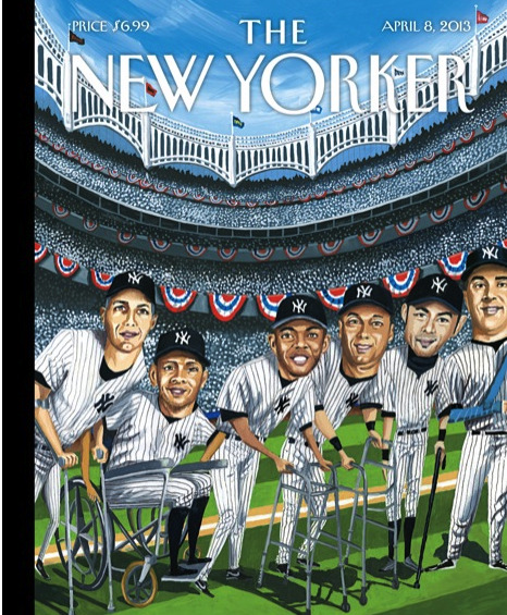"davidpierce:  newyorker:  On opening day, enjoy ""Hitting Forty,"" this week's cover by Mark Ulriksen, as well as a slide show of baseball covers from our archives: http://nyr.kr/10p4Zc4  Today in deeply depressing magazine covers."