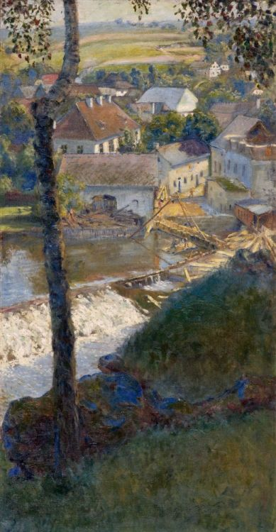 poboh:  A view of the mill weir, Miroslav Bedřich Fridrich.