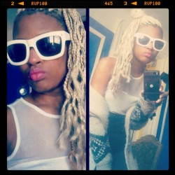 Sunnies :) #nyc #fashion #style #shades #braids #blonde #hair #pink #lipstick #sex #illuminati