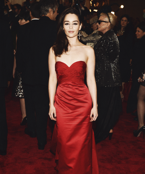Emilia Clarke attends the Costume Institute Gala for the 'PUNK: Chaos to Couture' exhibition at the Metropolitan Museum of Art on May 6, 2013