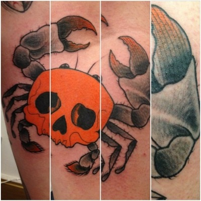 Skull crab! Done by Dean Coughlin @the tattoo boutique, Liverpool.  To about 2 hours!