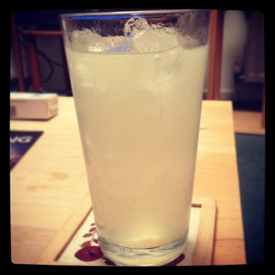 Gin, lime, lemon, tonic, ice. Drinks with Jaya.