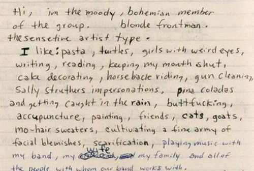 downer-27:  From Kurt Cobain's Journals.