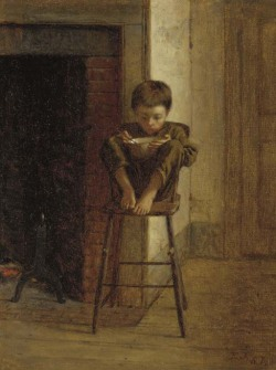 poboh:  Little boy on the stool, Eastman Johnson. American (1824 - 1906)