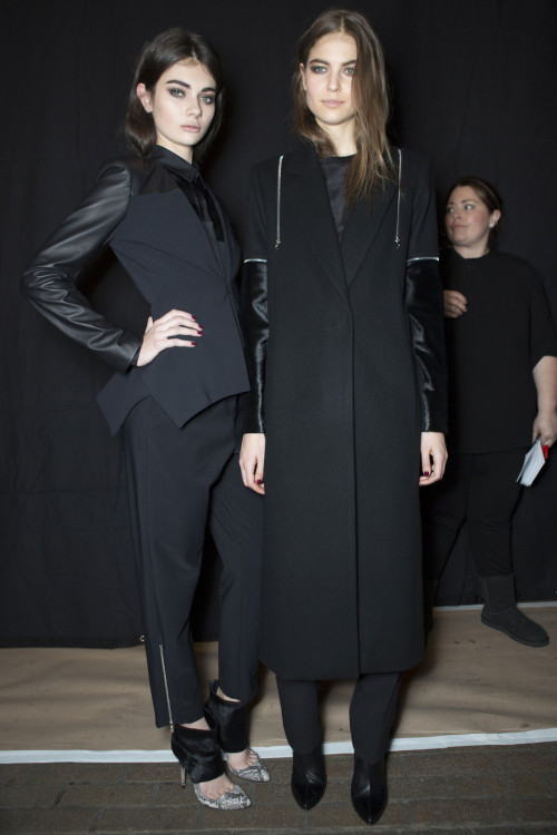 oncethingslookup:  Antonina Vasylchenko and Lin Kjerulf backstage at Yigal Azrouël Fall 2013 RTW