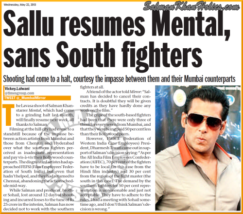 ★ (Paper) Sallu resumes Mental, sans South fighters !