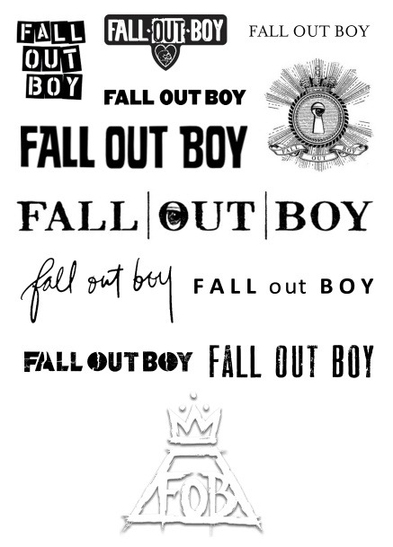 thisbutterflywillfly:  Evolution of the Fall Out Boy logo. I wanna get one of these as a tattoo   ONE DIRECTION IS SO COOL! And these logos just prove they are the BEST ok?  Brendon Urie is literally the most talented singer on earth,