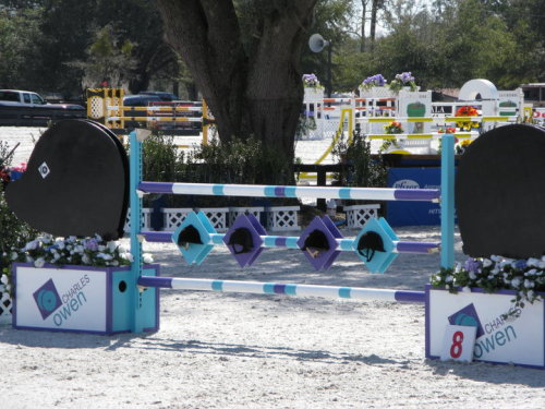 Charles Owen Jump at Hits Ocala Show. Those are real helmets in the middle! So cool