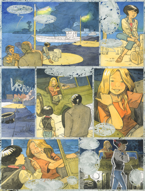 atelier-sento:  Natsuko, page 2 - color WIP.We use watercolours on a 300g paper.