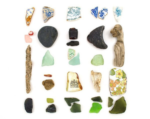 Sea glass organized neatly.