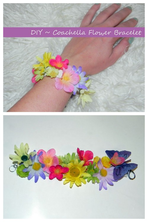 DIY Flower Power Bracelet Tutorial from Smart n Snazzy here. Easy and cheap DIY for older kids or grownups.