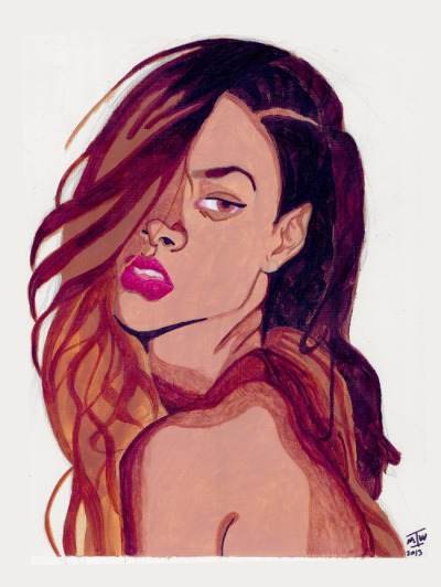 Rihanna by ~TheRealIkeman in acrylic and marker