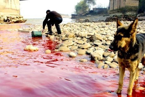 Pollution in China - a river bleeds to death. treehugger.com
