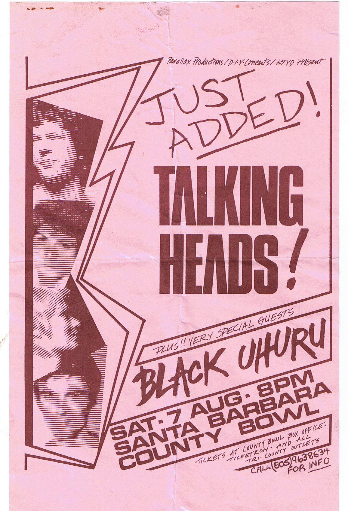zombiesenelghetto:  Talking Heads, flyer Santa Barbara County Bowl, August , 1982