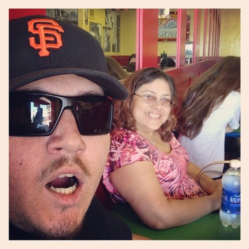 Yesterday in Santa Cruz about to grub. I look like my mom.