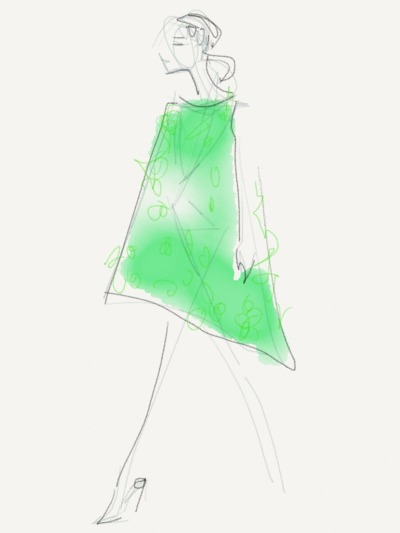 Embellished green tent silhouette at Oscar de la Renta Sketch by Danielle Meder