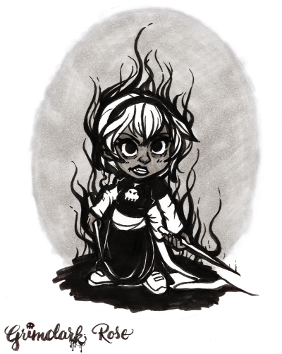 Quick doodling between commission work: scanned version of the Grimdark Rose brush pen drawing. Inked with Kuretake Real Brush brush pen, and greys are copic marker.