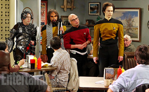 entertainmentweekly:  The Big Bang boys will boldly go where many geeks have gone before in this Thursday's episode. WhichStar Trekgetup is your favorite: Howard as a member of the Borg, Raj as the Klingon security chief Lt. Worf, Leonard as the intrepid Capt. Jean-Luc Picard, or Sheldon as the android Lt. Commander Data?  And which part of this picture is laughing with and not at geeks/nerds?