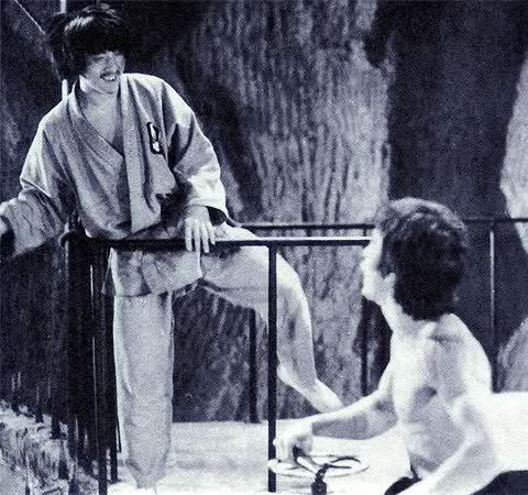 "Rare shot of Jackie with Bruce Lee on the set of ""Enter the Dragon."""
