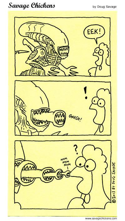 Cuando atacanlos Aliens… Savage Chickens, por Doug Savage, en http://www.savagechickens.com/