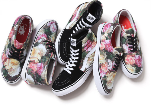 Vans and Supreme New York did a collaboration as part of Supreme's new spring line.  The Chukka, Era, and Sk8-Hi all feature the floral pattern from the artwork of band New Order's Power, Corruption & Lies album from 1983. I'm in total love… those Sk8-Hi's are AWESOME. They'll be available in Supreme's NY, LA and London stores, as well as Supreme's online shop on March 7th. -alyson