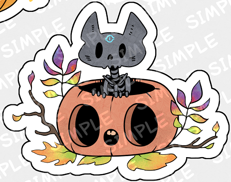 """A sneak peek on the stickers >w> There will be two lists. Each with 6 big stickers and 6 small stickers.This is one of the small stickers <3 Oh yeah. The theme of the pack is""""pumpkins"""".I almost done the first list. #darkwoodtale#stickers #i must say that i love them and surely will print them for myself xD"""