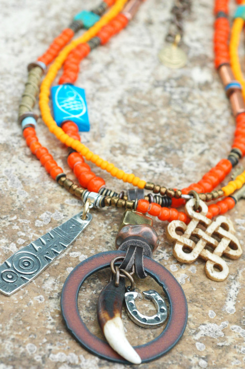 Orange Kianga: African Inspired Tribal Orange Glass and Mixed Media Pendant Necklace $275 Click to buy