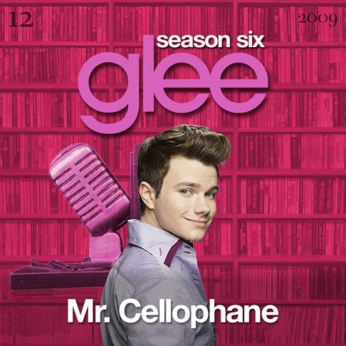 "A Glee album cover (with Season 6 bookends) for ""Mr. Cellophane"" from Chicago, as sung by Chris Colfer, from Episode 1x01 ""Pilot"" and Episode 6x12 ""2009"" in my Bookshelf Backdrop Style."